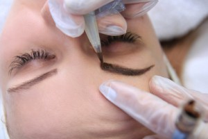 Permanent make up on eyebrows.